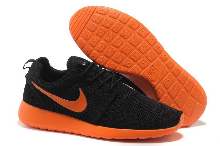 Nike Roshe Run Mesh Mens Trainers Black Fluorescent Orange